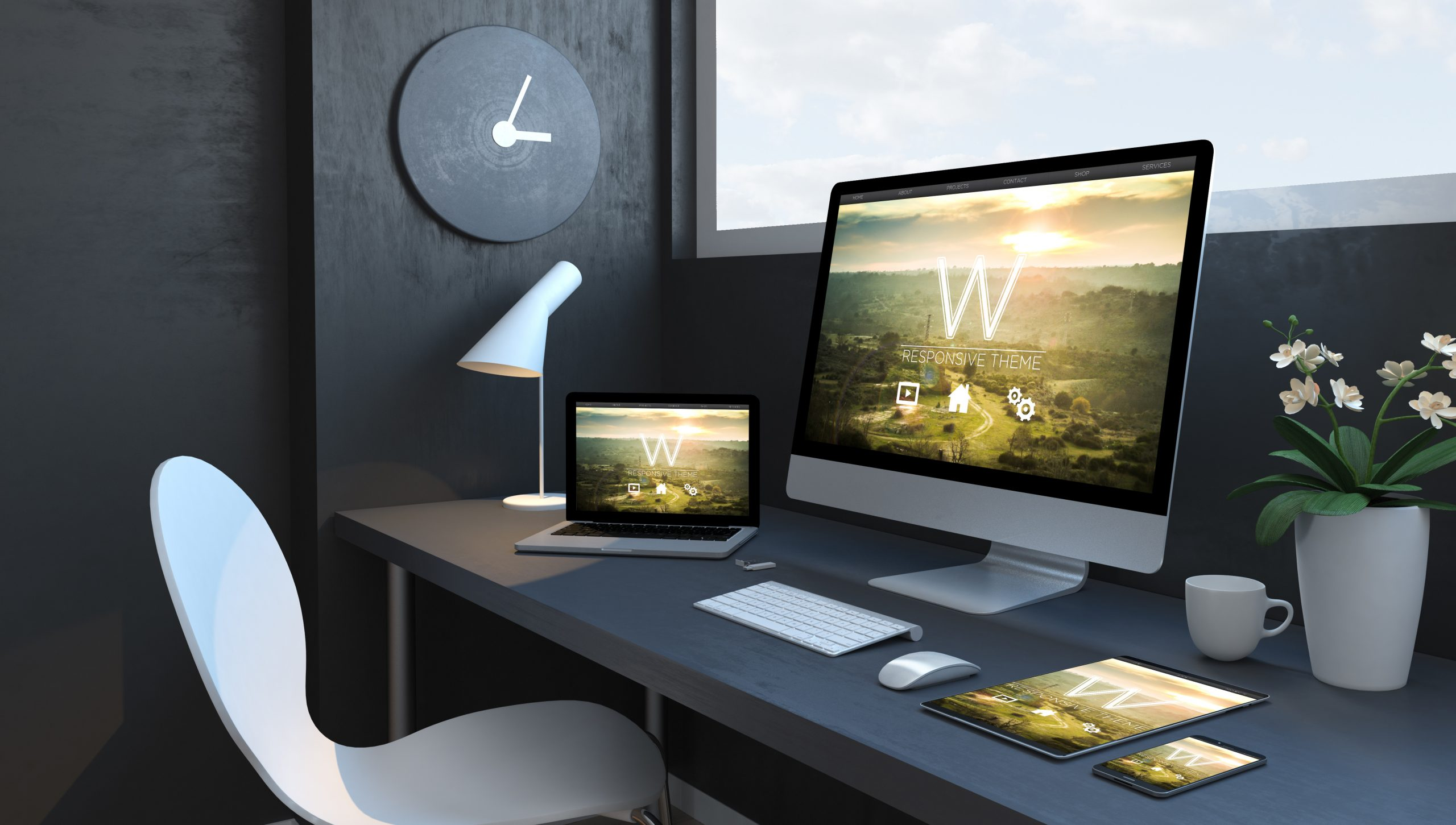 Navy blue workspace with responsive devices 3d rendering responsive design website